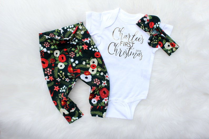 My First Christmas Outfit  Personalized Christmas Pajamas  image 0