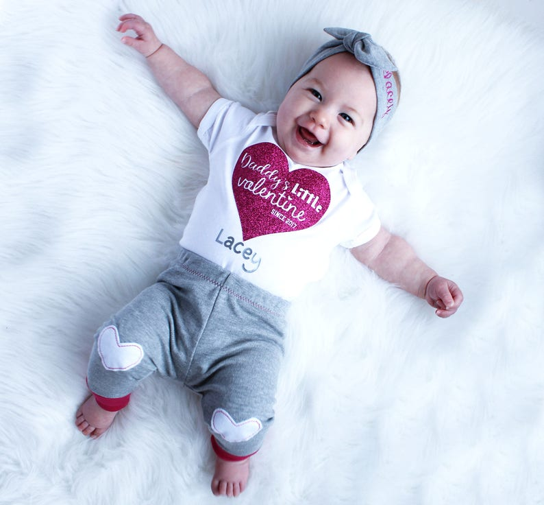Valentines Kids  Valentine Outfit Baby Girl  Daddys Little image 0