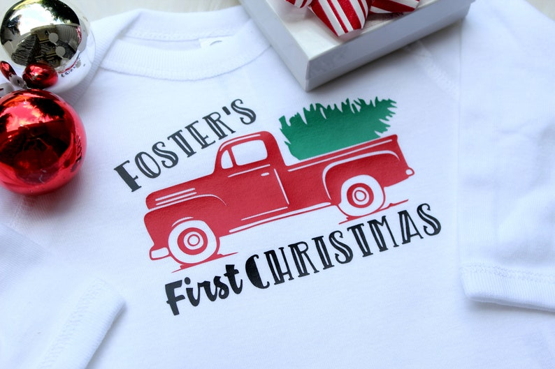 Red Christmas Truck  First Christmas Shirt  Christmas Truck image 0