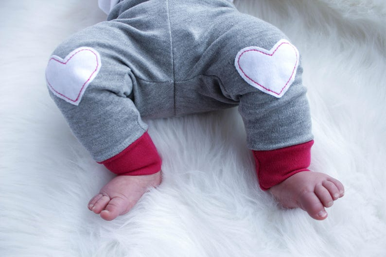 Valentines Baby Girl Outfit  Knee Patches  Baby Girl image 0