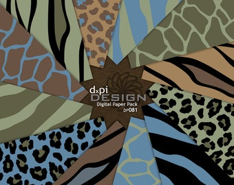 Earthtone Animal Print Digital Paper & Background Images - Digital Zebra, Leopard, Tiger, Giraffe Scrapbook Paper - Instant Download (DP081)