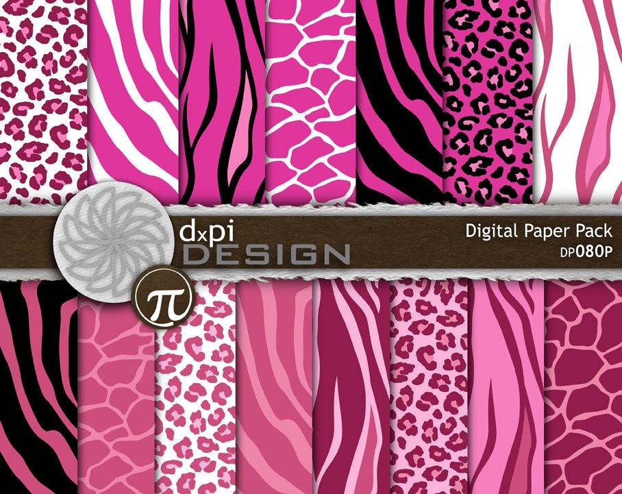 Pink animal print digital paper printable backgrounds etsy - Pink animal print wallpaper ...
