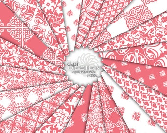 CORAL - Pink Digital Paper & Printable Damask Backgrounds - pink digital scrapbook paper, coral pink damask - Instant Download (DP255C)