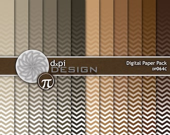 Neutral Ombre Chevron Digital Paper and Background Images - Digital Scrapbook Paper in Brown, Tan, Taupe, Khaki - Instant Download (DP064C)