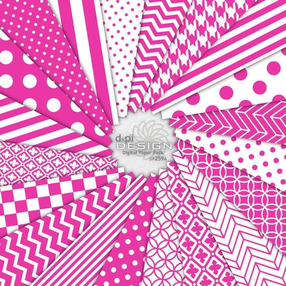 Hot Pink Digital Scrapbook Paper Printable Background Etsy