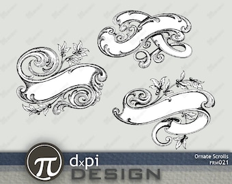 VINTAGE SCROLLS - Digital Scroll Designs for Formal Labels, Layouts, Invitations, and Scrapbooking - Instant Download (FRM021)