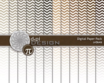Neutral Ombre Chevron Digital Paper and Background Images - Gradient Scrapbook Paper in Brown, Tan, Taupe, Khaki - Instant Download (DP064B)