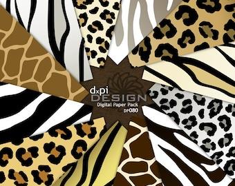 Animal Print Digital Paper - Zebra Leopard Tiger Giraffe - Digital Scrapbook Paper and Printable Backgrounds - Instant Download (DP080)