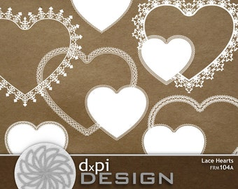 Digital Lace Heart Frames and Clip Art Scrapbook Labels - Printable Heart Tags for Weddings and Valentine's Day - Instant Download (FRM104A)