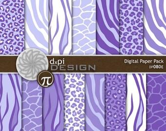 Purple Animal Prints - Digital Paper & Printable Designs - zebra, leopard, tiger, giraffe scrapbook background - Instant Download (DP080E)