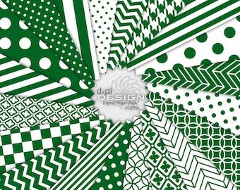 DARK GREEN - Digital Scrapbook Paper in Dark Hunter Green and White - Printable Background Designs - Instant Download (DP295A)