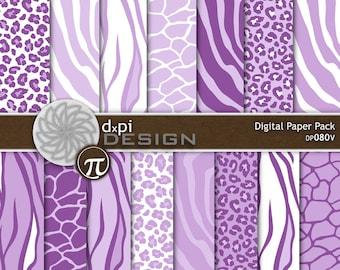 Violet & Lavender Animal Prints - Digital Scrapbook Paper and Background Images - zebra, leopard, tiger, giraffe - Instant Download (DP080V)