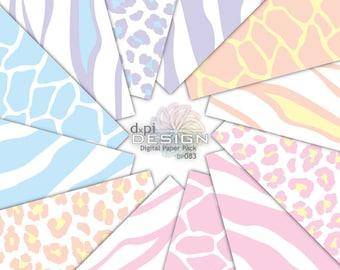 Pastel Animal Prints - Digital Paper & Printable Patterns - zebra, leopard, tiger, giraffe scrapbook backgrounds - Instant Download (DP083)