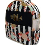 Personalized Toddler Backpack, Preschool Backpack, Boho Toddler Backpack. Boho Floral Backpack, Metallic Gold Backpack, Quilted Backpack