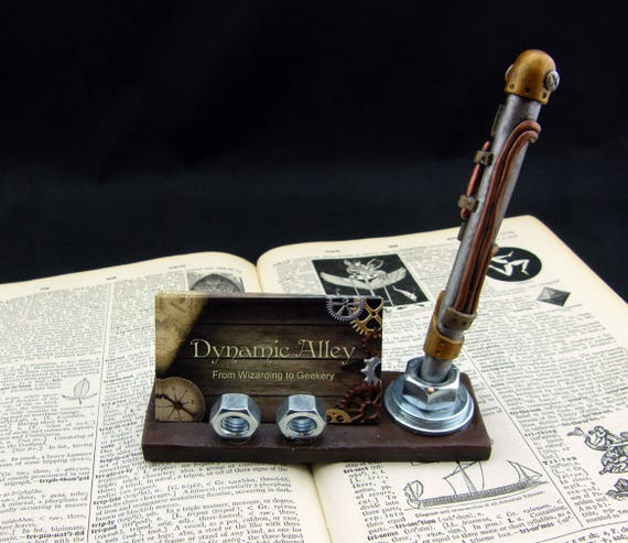 Steampunk industrial polymer clay business card holder with etsy image 0 colourmoves
