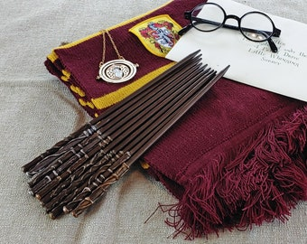 10 Inch Party Favor Wands PKG of 5-20 - Brown with Metallic Wizard Wands /  Magic Wands / Wizard Party / Wedding Favors