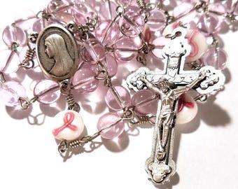 Breast Cancer Awareness Pink Ribbon Handmade Catholic Rosary