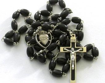 Catholic Black Wood Bead Sacred Heart Medal Black Inlay Crucifix Handmade Rosary