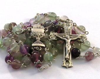 Handmade Rainbow Fluorite Gemstone Sterling Silver Communion Chalice Catholic Rosary OOAK