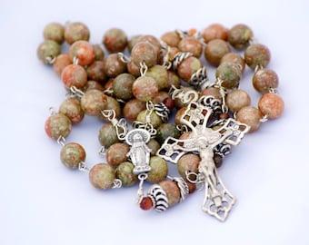 Autumn Jasper & Carnelian Gemstone Sterling Silver Handmade Catholic Rosary