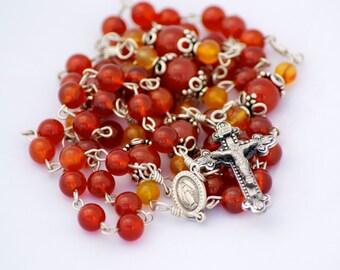 Carnelian Gemstone Sterling Silver Handmade Catholic Rosary