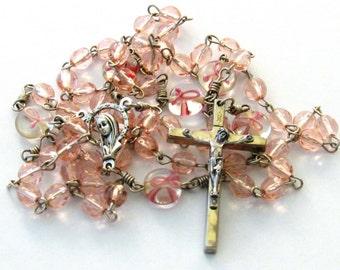 Breast Cancer Awareness Pink Ribbon Glass Bead Catholic Handmade Rosary