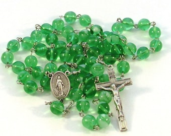 Handmade Catholic Green Glow in the Dark Glass Bead Rosary with Miraculous Medal Center
