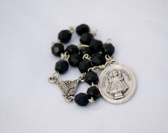 Infant of Prague Black Czech Fire-polished Glass Bead Catholic Handmade Chaplet