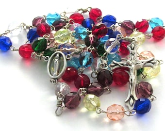 Multicolored Czech Glass Bead Handmade Catholic Rosary with Marian Center Medal and Teardrop Crucifix