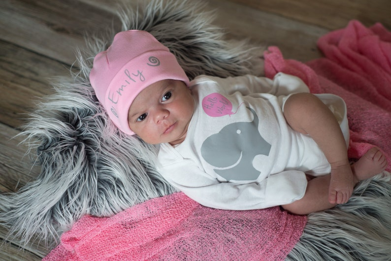 Hello World Baby Outfit Hospital Outfit Plus Pink Baby Beanie Hat Baby Girl