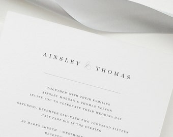 Simple Wedding Invitation Sample - Ainsley | Letterpress Wedding Invitation | Black and White Wedding Invites | Gray Wedding Invitations