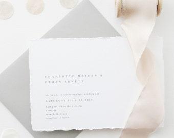 Wedding Invitation Sample - Charlotte | Letterpress Wedding Invitations | Gray Wedding Invitations | Deckled Edging Invites | Torn Paper