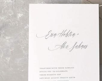 Rustic Wedding Invitation Sample - Erin | Letterpress Wedding Invitations | Wedding Invites | Gray Wedding Invitations