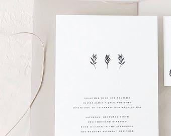 Simple Wedding Invitation Sample - Olivia | Letterpress Wedding Invitation | Kraft Wedding Invites | Rustic Wedding Invitations
