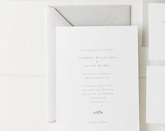 Simple Wedding Invitation Sample - Aurora | Letterpress Wedding Invitations | Rustic Wedding Invites