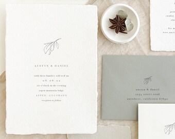 Handmade Paper Leaf Wedding Invitation   Minimalist Wedding Invitations   Save the Dates   Wedding Invites   Programs   Austyn - Sample