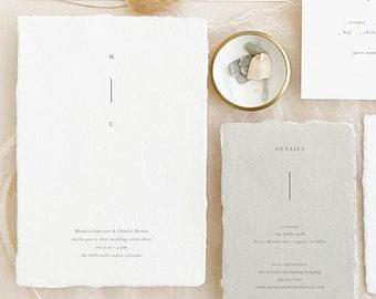 Handmade Paper Wedding Invitation   Minimalist Wedding Invitations   Save the Dates   Wedding Invites   Wedding Programs   Monica - Sample