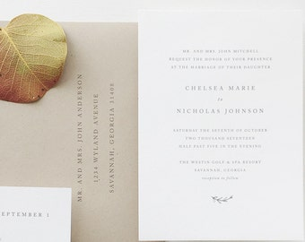 Simple Wedding Invitation Sample - Chelsea | Rustic Wedding Invitations | Letterpress Wedding Invites | Gray Wedding Invitations