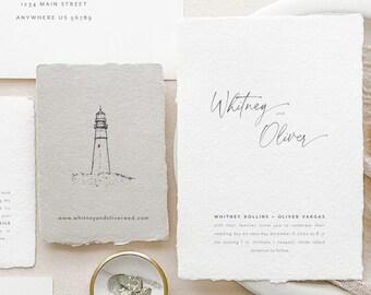 Handmade Paper Wedding Invitation   Calligraphy Wedding Invitations   Save the Dates   Wedding Invites   Programs   Whitney - Sample