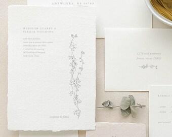 Handmade Paper Wedding Invitation   Minimalist Wedding Invitations   Save the Dates   Wedding Invites   Wedding Programs   Madelyn - Sample