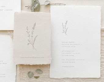 Handmade Paper Floral Wedding Invitation   Minimalist Wedding Invitations   Save the Dates   Wedding Invites   Programs   Hayden - Sample