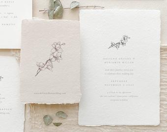 Handmade Paper Wedding Invitation   Botanical Wedding Invitations   Save the Dates   Wedding Invites   Programs   Delilah - Sample