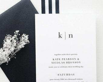 Traditional Wedding Invitation Sample - Kate | Black and White Wedding Invites | Letterpress Wedding Invitations | Minimalist Wedding