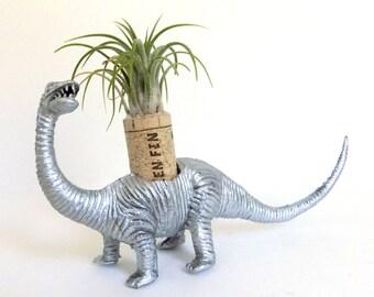 Repurposed Silver Brontosaurus Living Art