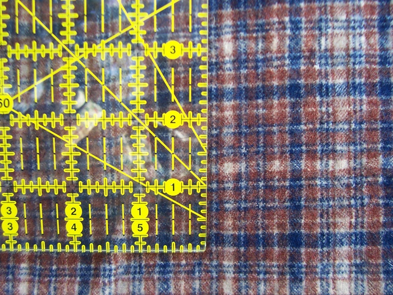 Blue and Tan Felted Wool Plaid Fabric Yardage  in Brown