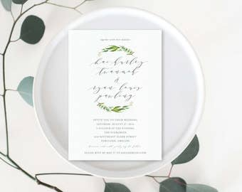 Garland Love Wedding Invitation Suite