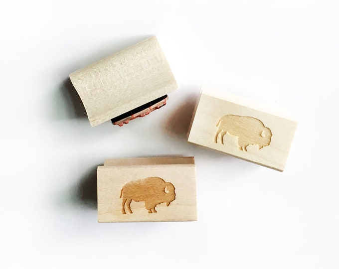 """Featured listing image: Mini Bison Rubber Stamp, .75""""w x .5"""" h"""
