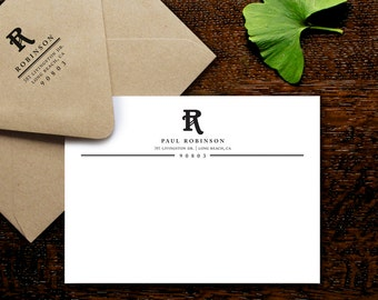 Nouveau Initial Note Cards, Personalized Stationery