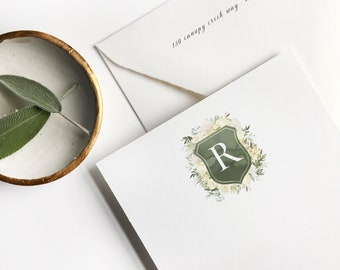 Floral Crest, Personalized Stationery