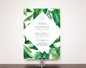 Geometric Palms Wedding Invitation Suite